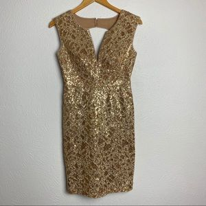 BCGBMaxAzria Kaya Sequined Gold Dress Open Back